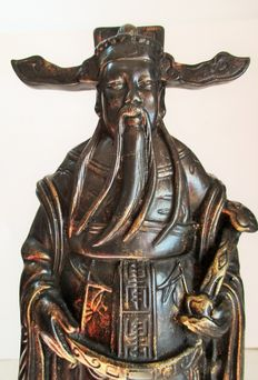Hand painted Caishen the Chinese/Taoist god of prosperity/wealth, in marfinite - Asia - 2nd half of the 20th century