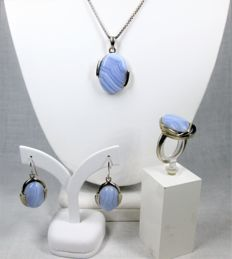 Silver set handmade with agate - necklace - ring - earrings