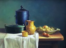 Unknown 20th century - still life - enamel jug and pan - fruit and pitcher