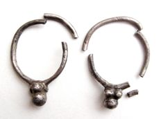 Roman Silver Earrings - 17x22 mm, each (2)