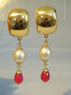 Gold ruby pearl earrings, facetted ruby droplets 7.25ct