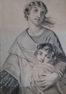 French school from the 19th c. - Madonne et enfant