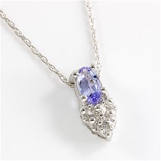 Estate 10kt White Gold  Necklace set With Diamonds and Tanzanite