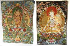 2 Oriental brocade wall tapestries (40 x 60) of silk with gold brocade.