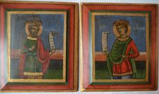2 wooden Icons David and his son Solomon-age unknown estimate Middle 20th century