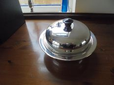 Antique Serving Muffin Plate in English Silver Plate, around 1900