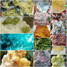 Collection of minerals including orpiment - realgar - green tourmaline - rosasite - 3.5 to 10 cm - 2056 gm (16)