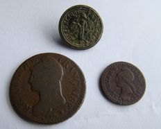 2 Coins and one Button from the France Empire of Napoleon