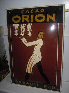 Very nice heavy enamel sign - domed, 48 x 33 cm, cacao orion, art deco waiter