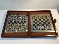 Beautiful compact chess set and checkers game - in gold and silver