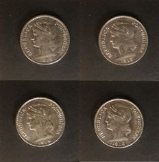 Complete collection of 50 centavos face value coins in Silver, of the following dates: 1912 to 1916 - Lisbon