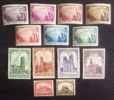 "Belgium 1928/1932 - TBC ""The Pines and Cathedral"" series - OPB 356/362 and 267/272."