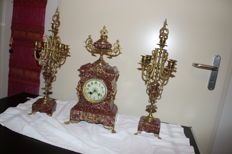 French 3-part clock set – period 1900
