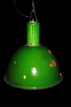 Unknown designer – Very large enamel factory light