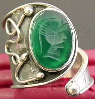 Chrysoprase Intaglio mounted in special Hand Designed Sterling Silver Ring