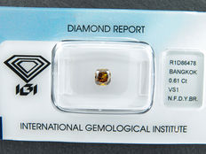 0.61 ct radiant cut diamond, natural fancy deep yellowish brown VS1