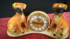 Ceramic picture with boxer dogs and clock, Jema Holland