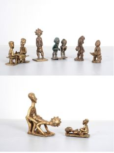 Beautiful set of figurines in bronze - AKAN, BAULE, ASHANTI - Ivory Coast, Ghana