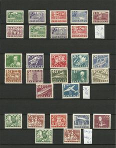 Sweden 1935/1938 - various subjects - Yvert 229/234, 235/46 and 249/53
