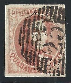 Belgium 1852 – Leopold I 40 cent carmine very big margins cancelled P25 Charleroi – COB 8.