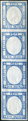 Kingdom of Naples, 1861 – Neapolitan provinces – 2 Grana stamp – Light blue – Vertical strip of 4 – Sassone catalogue #20.