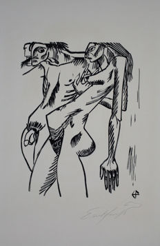 Ernst Fuchs - Adam and Eve, from the Portfolio