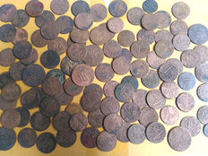 Java, French rule and VOC - 1/2, 1 and double duit (100 pieces)