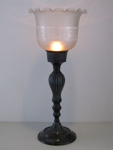 Large French Fin-de-siècle wind light for candle and tea