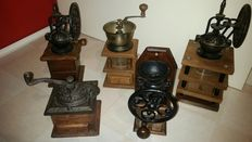 Five beautiful coffee grinders from ca 1950