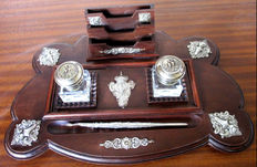 Desk Set Dubbel Ink well Marked Silver and Crystal on Mahogony with Relief Marked Silver Finish  with Elegant Marked Silver Pen - Portugal - 19th