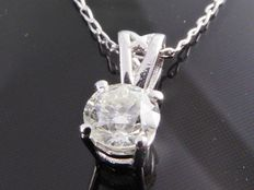 White gold solitaire pendant with 1 brilliant cut diamond of 0.30 ct with gold necklace ***no reserve price***