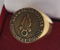FRENCH FOREIGN LEGION - LEGION RING - New - AJS collection . Weight: 23.8 g - Hypoallergenic - 316 Surgical Steel - 24kt plated gold - hand made.
