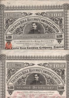 Costa Rica - The Costa Rica Railway Company 1888\1889 - First & Second Mortgage Debenture £ 100