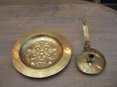 German christening dish-19th century-and Dutch sconce -18th century
