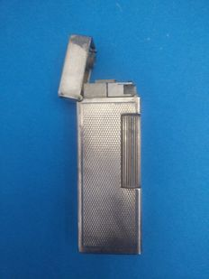 Dunhill - silver pocket gasoline lighter with automatic opening - ca. 1940