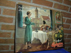Large Original Budweiser Budvar tin board 48 x 37 cm