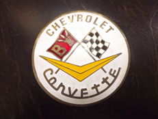 CORVETTE CHEVROLET, Brass Enamel Badge Grill,1950-60
