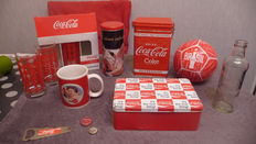 Metal plates and coca cola advertising material