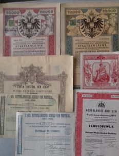 State loans-7 items-Austria-Portugal-France-Antilles-including art nouveau