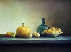 Unknown (20th century) - still life - pumpkin-bottle-fruit