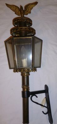 Large brass / copper wall lantern, has been electrified