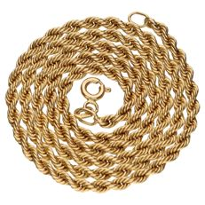Yellow gold, rope chain necklace of 14 kt.