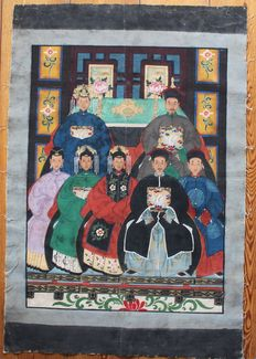 Large ancestor painting on linen - China - late 20th century