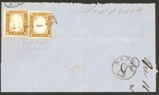 Kingdom of Italy, 1862 – Fragment of a letter sent from Messina to Livorno with two 4th issue stamps from Sardinia – Sassone Historic States catalogue #14Db.