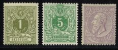 Belgium 1884 – Selection of 3 classic stamps – OPB 42, 45 and 52