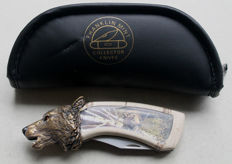 "Franklin Mint - Pocket knife: Wolf's head - Timberwolf ""Leading The Hunt"""