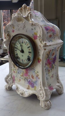 Victorian Royal Bonn (Number 1252) gold gilt porcelain clock - USA - 19th century