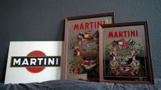 Metal Vintage MARTINI Billboard + 2 old Pub mirrors
