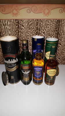 3 bottles - Glenfiddich pure malt, Loch Lomond and Glen Talloch 8 years