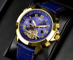 Calvaneo 1583 Astonia Luxury Gold Blue. Men's wristwatch – New